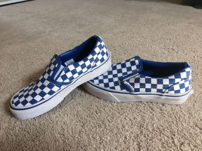 Kids Kids Blue Checkerboard Vans Slip On