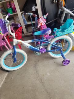 Frozen 16-inch bike Frozen scooter and a Barbie tricycle
