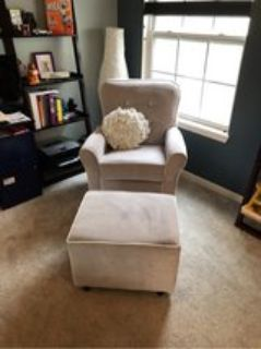 baby room rocking chair and ottoman