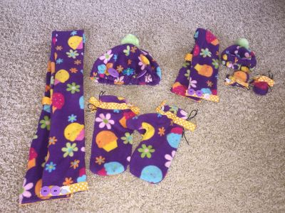 Winter set for little girl with matching doll set