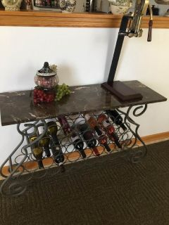 Marbletop Wine table wtih accesories