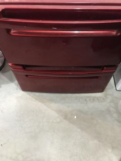 2 LG Red Washer and Dryer Pedastools