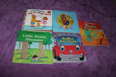 5 Small Kids Books: Arthur Flap Book Say the Magic Work, The Tale of Peter Rabbit, Little Danny Dinosaur, Rookie Fire Truck and Aladdin