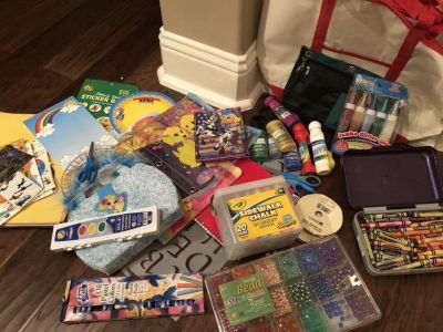 Art supplies... crayons, beads, paints, note pads
