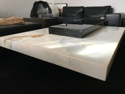 White Onyx Stone Top Rectangular Coffee