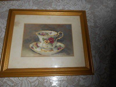 "(1) SIGNED BARBARA MOCK TEA CUP PRINT! CUSTOM MATTED AND FRAMED! GOLDTONE FRAME IS 9.5""W X 11.5"""