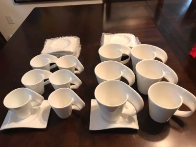 24 pc Set Espresso + coffee cups with saucers.