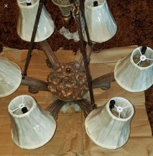 Absolutely GORGEOUS Pine Cone Cabin Chandelier. New in Box. 28 across.