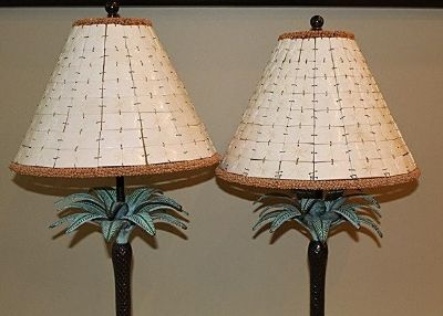 Bronze and Camel Bone Palm Tree table lamps