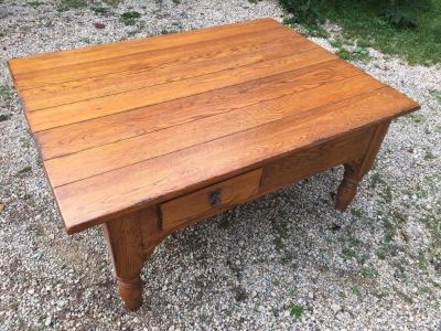 Solid oak coffee table with two drawers