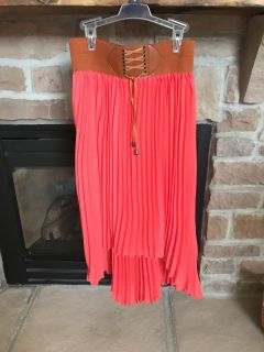 Jrs high/low pleated skirt size small