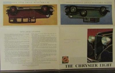 Purchase 1931 Chrysler Eight ORIGINAL Sales Brochure Coupe Sedan Roadster motorcycle in Holts Summit, Missouri, United States, for US $58.31