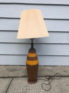 Vintage Yellow & Brown Table Lamp