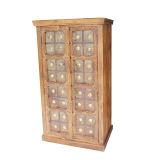 Antique Rustic Accent Castle Door Armoire Solid Wood Iron Cladded Vintage Storage