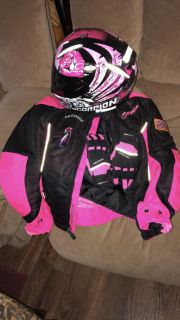 Motorcyle Helmet Jacket with Spine Protector Gel and Motorcycle Boots for Women Pink Helmet