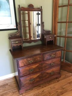 Six Drawer Cherry Wood Dresser with Pivoting Mirror