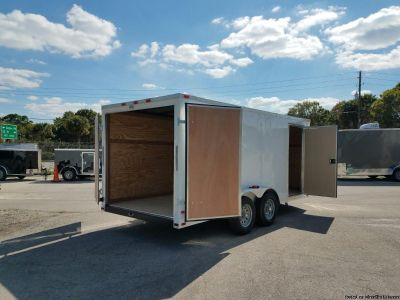 7 feetx 16 White Enclosed Trailer with Extra Height and Side Door