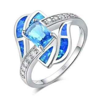 New - Blue Fire Opal, Aquamarine and Zircon Ring - Sizes 9 and 11