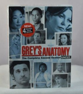 NEW Greys Anatomy Season 2 DVD 6-Disc Set * Includes 4 Extended Uncut Episodes