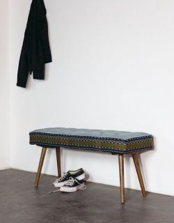 Handmade Mini-Bench: Folklorica with Ice Blue Seat