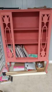 Vintage cabinet. Bought to redo and never did. I have the glass door