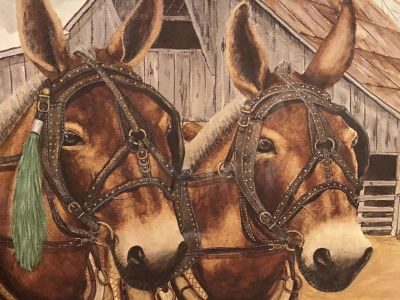 Mule Print limited edition signed and numbered framed Leslie Vanhook Two for the Show