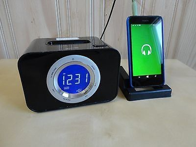 ilive blue digital 2 band alarm clock with 3.5mm jack ,iphone/ipod docking