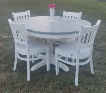 Country Gray and White Pedestal Table w/leaf(Chairs Sold Separately)