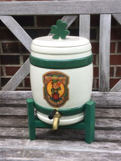 McCanihan s Irish Ale Dispenser, ceramic dispenser w/wood base, approx 1 1/2 gallon, excellent condition **READ PICK-UP DETAILS BELOW