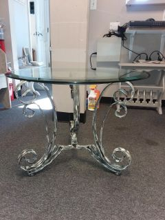 HEAVY WROUGHT IRON BEVELED GLASS TABLE