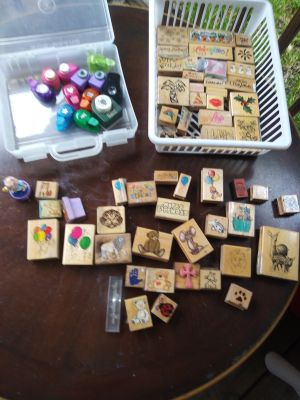 Over 50 stamps and a dozen decorative hole punchers pick up in Allen or Sachse