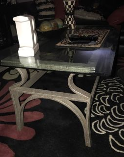 Gray metal and glass coffee table and end table