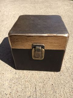 Gold and Black Wooden Box with Clip Closure