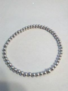 .925 sterling silver beaded 4mm braclet unisex