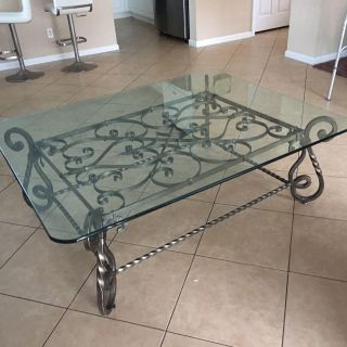 Bernhardt wrought iron base coffee table