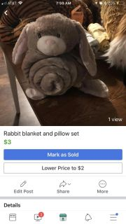 Rabbit blanket and pillow