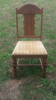 Six matching dining room chairs solid wood will need recovering