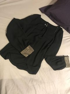 Black with gold cuffs blouse