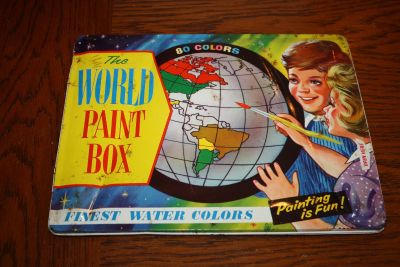 Vintage Tin The World Paint Box Made In England 80 Watercolors