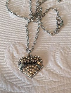 New Mom Crystal Heart Necklace