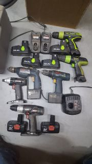Large collection of power Drills and Impact Driver: Craftsman, Kawasaki and Bosch