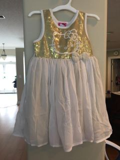 Hello Kitty 4T gold and white sparkle dress