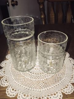 Crackle glass candle holder/vase. By Georgeous Designs.