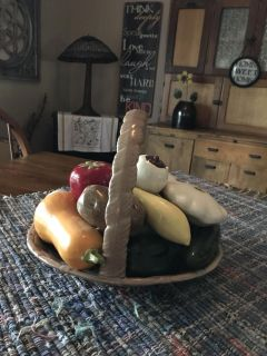 Time to bring the produce in! Large vintage ceramic basket, perfect summer centerpiece!