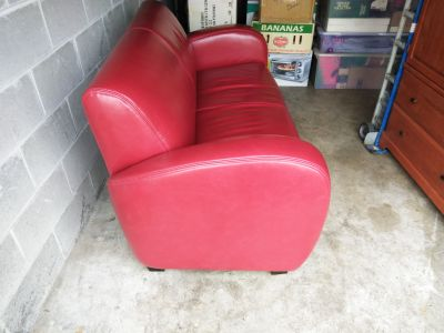Red Leather Loveseat $negotiable