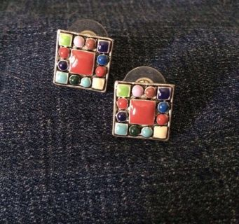 LAST CHANCE ~ DONATING FRIDAY: Square Multi-Colored Post Earrings