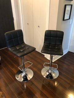 Two mint condition adjustable bar stools