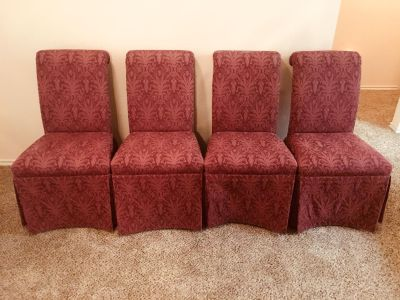 Set of 4 gorgeous RED fabric dining chairs in great condition.