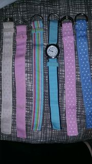 Geneva watch with 6 pastel bands