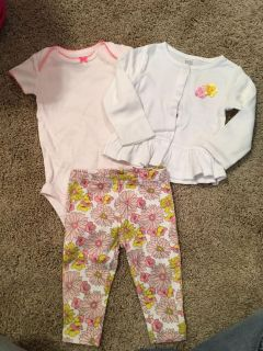 Just one you by Carter s onesie, pant and cardigan size 6 months